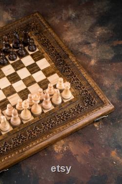 Jeu d échecs en bois fait à la main, pièces d échecs de haute qualité, cadeau personnalisé