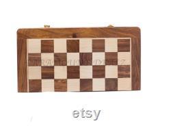 Jeu d échecs en bois fait main jeu de cadeau Magnetic Form Fiding Pliage En bois voyage d échecs ensemble avec des pièces en bois cadeau de Noël