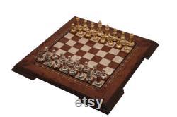 Jeu d échecs en bois plat de 15,15 pouces Petit Rosewood