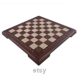 Jeu d échecs en bois plat de 16,5 pouces Moyen Noyer