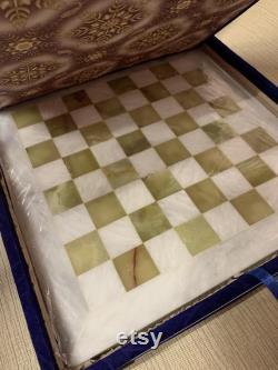 Jeu d échecs en marbre carré de 12'' pouces, pièces d échecs en marbre et échiquier, jeu d échecs unique, jeu d échecs