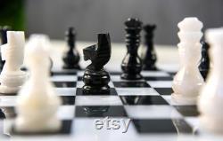 Jeu d échecs en marbre noir et blanc W White Board