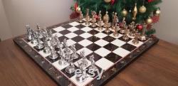 Jeu d échecs en métal fait main Taille moyenne, mythologie grecque, brillant, échiquier en bois de modèle de noix, cadeau de Noël, cadeau du nouvel an