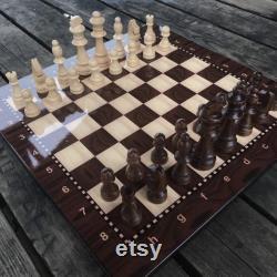 Jeu d échecs en noyer en bois avec plateau, pièces décoratives d ensemble de jeu d échecs, jeu d échecs pour adultes, jeu de cadeau d échecs, jeu d échecs unique, échecs en bois