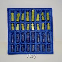 Jeu d échecs fabriqué à la main à partir de la bonne qualité Lapis Lazuli and Afghanistan Jade