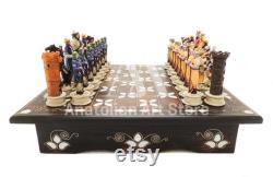 Jeu d échecs incrusté de nacre, jeu d échecs égyptien, pièces d échecs faites à la main, pièces d échecs croisés, cadeau de Noël, 100 Fait main