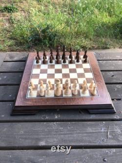 Jeu d échecs massif américain fait main de noix, échiquier de luxe avec des morceaux en bois d échecs, échiquier américain de noix