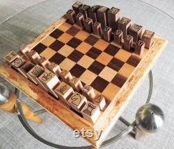 Jeu d échecs moderne Érable et noyer Pièces minimalistes Made in America