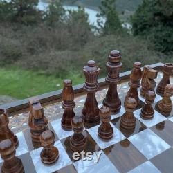 Jeu d échecs personnalisé VIP, avec pièces d échecs en bois, échiquier de luxe, cadeau d anniversaire idéal, cadeau de fête des mères