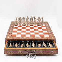 Jeu d échecs premium avec planche d échecs en bois fait main avec stockage métal thème chess pieces cadeau pour la fête des Pères de fille, fils