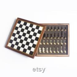 Jeu d échecs premium, échecs artisanaux à partir de wanut, cuir, résine et laiton, un cadeau de luxe