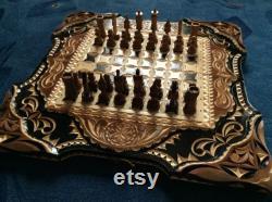 Jeu d échecs sculpté à la main 60x60 (Chess Checkers Backgammon) Échecs Souvenir Chess Unique Chess Set Antique Handcrafted Chess Sets SN0069