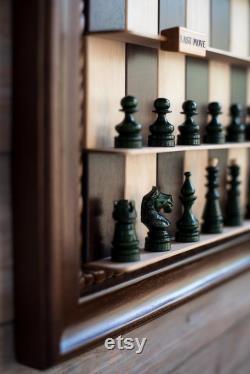 Jeu d échecs vertical fait main Échiquier en bois Cadeau d échecs Cadeau pour mari Idées cadeaux de housewarming Cadeau d anniversaire pour lui