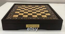 Jeu d échecs vip personnalisé en mosaïque de bois, échiquier, jeu d échecs de luxe, échecs de gambit de la reine, jeu d échecs avec des morceaux en bois