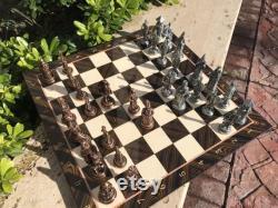 Jeu d échecs withboard, figures mythologiques, planche à motifs de marbre, figures avec planche, panneau carré, ensemble d échecs faits à la main