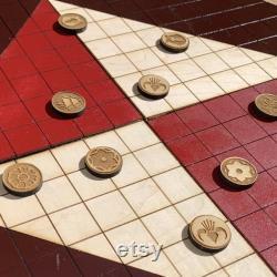 Jeu de société Pai Sho avec 2 jeux de tuiles de joueur Bois gravé