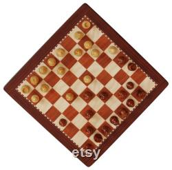 Jeu de société d échecs de voyage portable fait à la main pour les enfants et les adultes (taille de plateau de 8x8 pouces) Pièces d échecs magnétiques et plateau en couleur brune