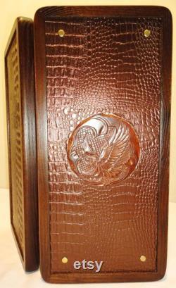 Jeu de société en bois sculpté fait à la main de backgammon ensemble golden eagle