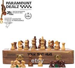 Jeu premium d échiquier en bois plateau pliable de 10 pouces avec 32 pièces magnétiques d échecs