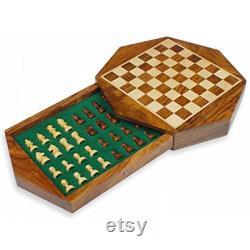 Jeux d échecs en bois faits à la main Table d échecs avec boîte de rangement (9 pouces Dia) échiquier vintage jeu d échecs vintage échiquier en bois unique.