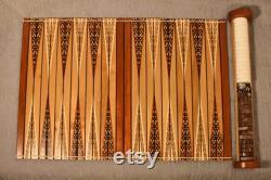 Large Roll Away Travel Backgammon Set Inlayed Pattern, Padouk and Cedar