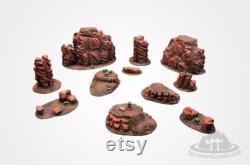 MARS WASTELAND Terrain Set Wargame Scenery Warhammer 40K Sci-Fi Postapo 28mm peint