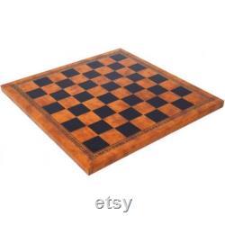 MYTHOLOGIE GRECQUE Ensemble d échecs peint à la main avec le beau échiquier de leatherette
