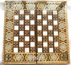 Mosaïque jeu d échiquier Échiquier avec stockage nacre d échecs marqueterie chess board bois Jeu d échecs de luxe Échecs pliants