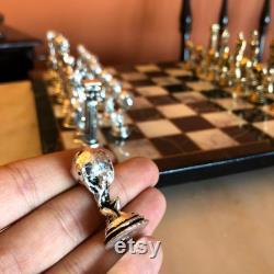 Mythological Atlas Hercules Chess Set, Chess Pieces Board Table Handmade vintage, Unique Luxury Metal, Backgammon, Schach, Schachfiguren