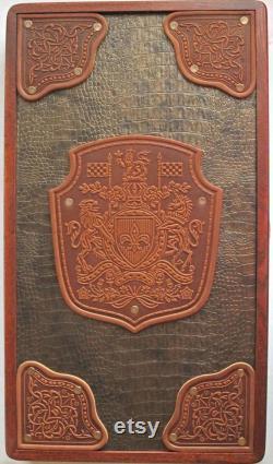 NOUVEAU jeu de Backgammon en fait à la main de bois de frêne cuir planche Bronze autorité marron luxe 20 excellente qualité. en cuir