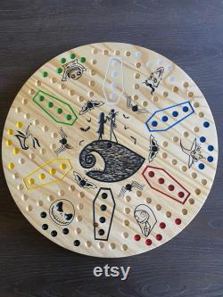 Nightmare Before Christmas CHINESE CHECKERS 2 sided Game avec choix de AGGRAVATION 6 joueur 4 joueurs