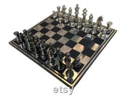 Nouvel ensemble d échecs en métal Staunton Complete 3.25 pièces d échecs en aluminium avec 14 x 14 échiquier avec des pièces d échecs en métal L Empire des échecs