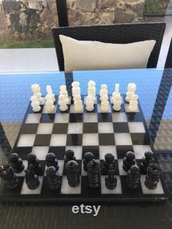Original Sculpté à la main poli blanc Noir Onyx Marble Chess Board Set