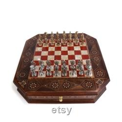 Ottoman vs Byzantine Metal Chess Set, Pièces faites à la main, Natural Solid Wooden Chess Board avec Rosewood Patterned, Storage Inside King 2.95 inc