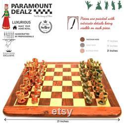 PIÈCES D ÉCHECS EN BOIS -Cadeau de Noël -Cadeau d anniversaire- Cadeau de papa, indien Royal Maharaja pièces d échecs en bois ensemble, cadeau de petite amie de petit ami