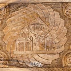 PRÊT À EXPÉDIER Arménien Handmade Backgammon Église Set Jeu de société Main sculptée dans le bois de noyer naturel, Nardy, Cadeau pour lui