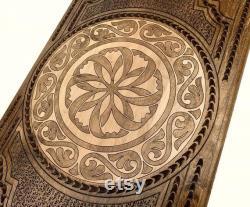 PRÊT À EXPÉDIER Arménien Handmade Backgammon Mayramut Set Jeu de société Main sculptée dans le bois de noyer naturel, Nardy, Cadeau pour lui