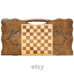 PRÊT À EXPÉDIER Arménien handmade Backgammon Samson Jeu de plateau Main sculptée dans le bois de noyer naturel, Nardy, Cadeau pour lui