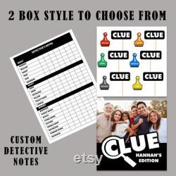 Personnalisé Custom Clue jeu Idéal pour les nuits de jeu