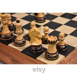 Pièces d échecs Dubrovnik des années 1970 Only Set Bois de boîte laqué brûlé sculpté à la main 3,8 King
