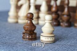 Pièces d'échecs de sculpture sur bois, jeu d'échecs Staunton lesté en bois, pièces de pions d'échecs en bois avec 4.3 King