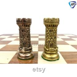 Pièces d échecs en laiton italien Set Antique vintage Figures Jeu d échecs 21 Rosewood Chess Board ensemble