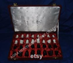 Pièces d échecs en marbre avec red velvet square box handmade art chess lovers occasional best gift decor