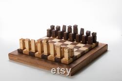 Planche d échecs en bois Noyer et érable en bois massif cadeau de luxe End Grain Chess Board Mariage Anniversaire Cadeau de retraite
