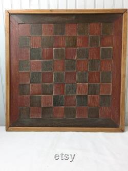 Planche de jeu antique, dames, art folklorique, décor primitif, jeu de bois, art folklorique, décor de mur, mur suspendu, décor à la maison, décor de ferme, rustique