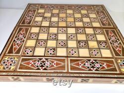 Plateau d échecs en mosaïque moyen fait à la main et jeu de backgammon avec des carreaux et des pièces d échecs, cadeau pour lui Plateau de jeu en bois