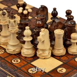 Pliage d échecs faits à la main Jeu d échecs en bois Ensemble de bois Main Sculpté pièces fabriquées Made Folding Game vintage