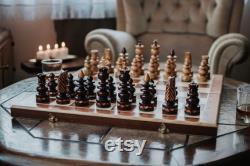 Prestigieux échiquier en bois, grande cassette incrustée, jeu en bois, échiquier de style Bizant, jeux d échecs avec planches, jeu fait mainAVEC AMOUR
