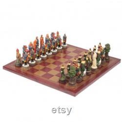 ROBIN HOOD Ensemble d échecs peint à la main avec échiquier en cuir