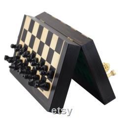 ROOGU The Black Book Jeu d'échecs magnétique 10 '' Mini échiquier en ébène Pièces d'échecs en buis KH 1.7 ''